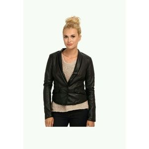 New Free People VEGAN Faux Leather BLAZER Jacket